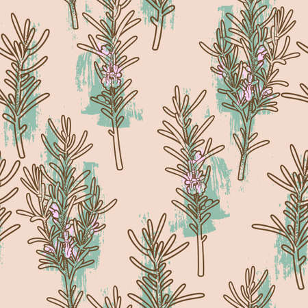 rosemary: Seamless branches of rosemary background