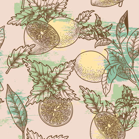 spearmint: Lemon and peppermint seamless background