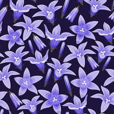 campanula: Seamless background with blue bellflowers