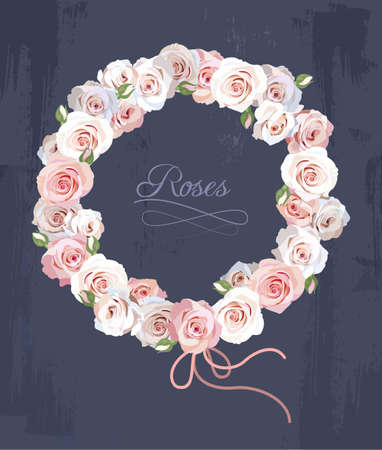 Illustration of wreath made of roses Vectores