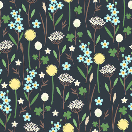 Seamless pattern made of meadow flowers