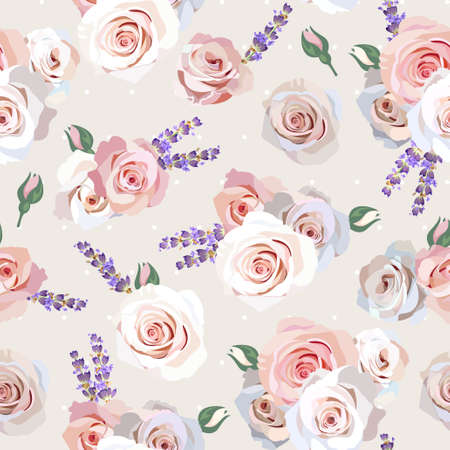Seamless roses and lavender background