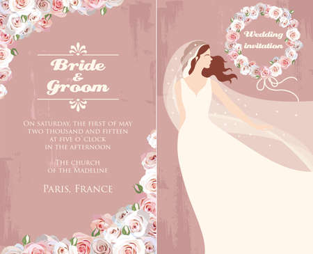 Illustration of wedding invitation with bride and roses Vector