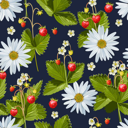 Camomile and wild strawberry seamless background Vectores