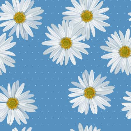 Camomile and polka dot seamless background