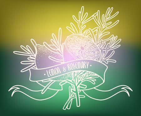 rosemary: Illustration of lemon and rosemary
