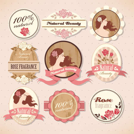 natural beauty: Set of natural beauty labels with roses