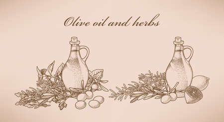 italian tradition: Illustration of olive oil and various herbs