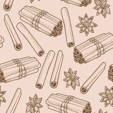 Hand drawn seamless background with cinnamon and star anise Vector