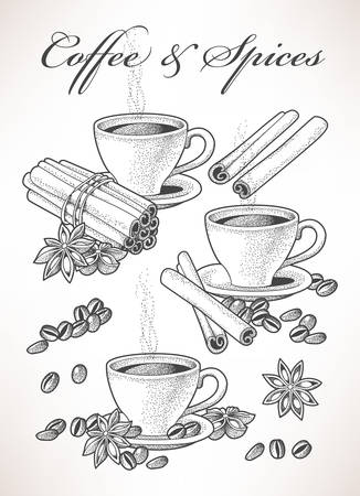 spice: Set of coffee and spice hand drawn compositions Illustration