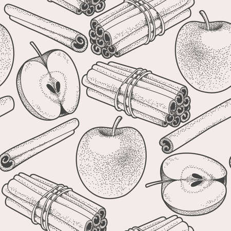 Seamless background with hand drawn apple and cinnamon
