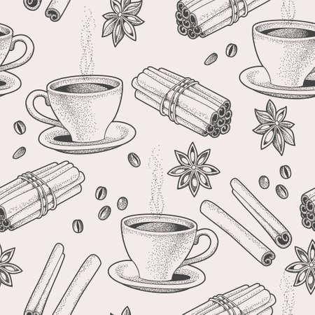 tiendas de comida: Fondo transparente con mano dibujada café y especias Vectores