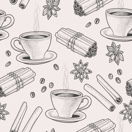 food and beverage: Seamless background with hand drawn coffee and spice