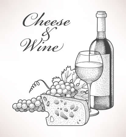 Hand drawn composition of wine, grape and cheese