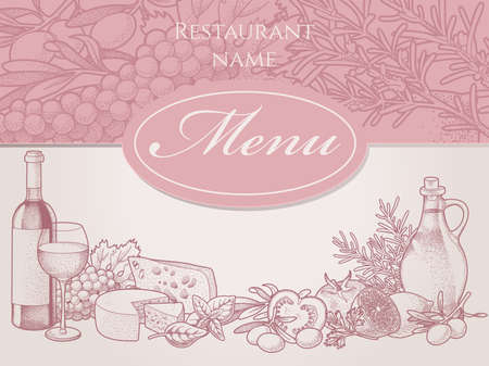 wine and cheese: Hand drawn restaurant menu with wine, cheese and vegetables Illustration
