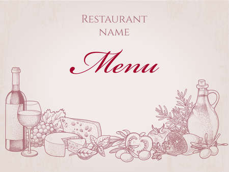 Hand drawn menu du restaurant avec du vin, du fromage et des légumes