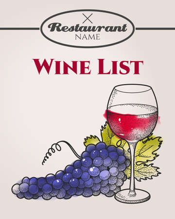 Hand drawn wine list with grape and wine Vector