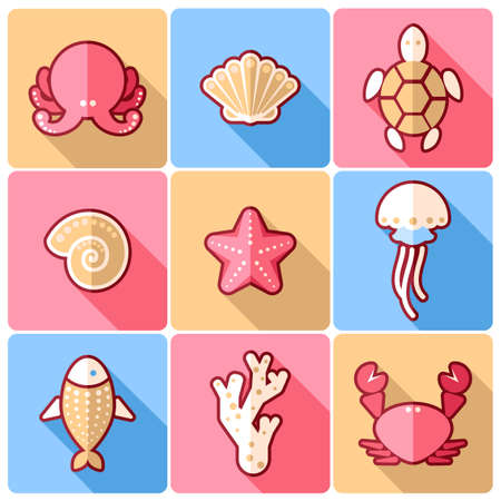 sealife: Set of nine sealife flat colorful icons