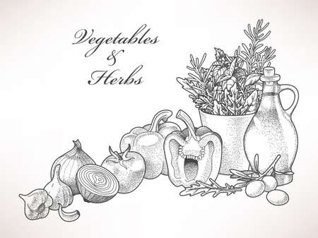 Illustration of olive oil, vegetables and herbs