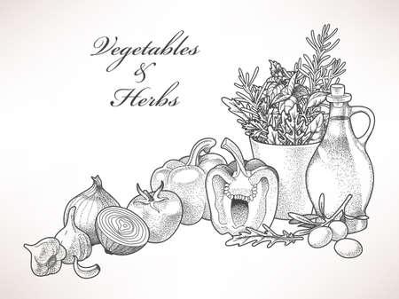 Illustration of olive oil, vegetables and herbs