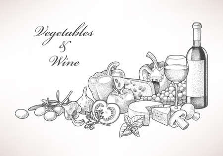 Illustration of hand drawn wine, cheese and vegetables