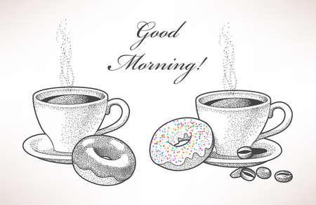Ilustración exhausta de café y donas Foto de archivo - 41903597