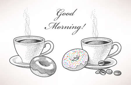 tarde de cafe: Ilustraci�n exhausta de caf� y donas Vectores