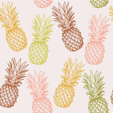 手描きカラフルなパイナップルのシームレスなベクトルの背景