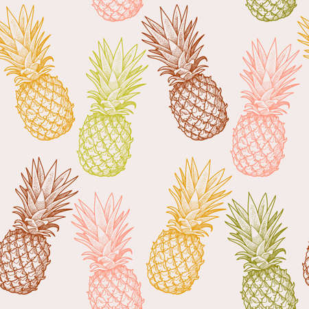 Hand drawn colorful pineapples seamless vector background