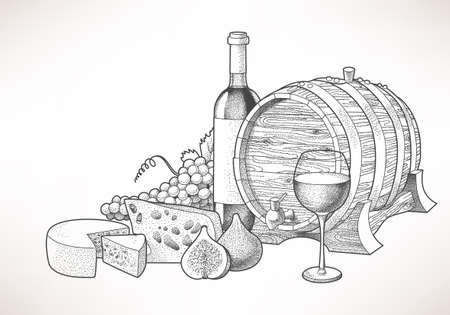 wine and cheese: Hand drawn illustration of wine, cheese and figs