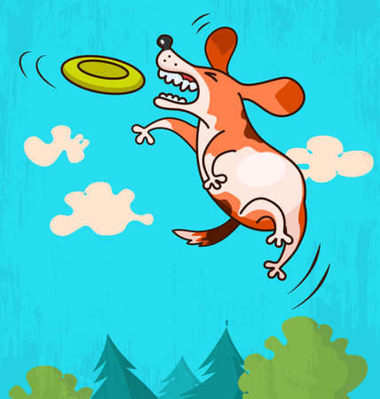 catch: Illustration of funny dog jumping to catch flying disc
