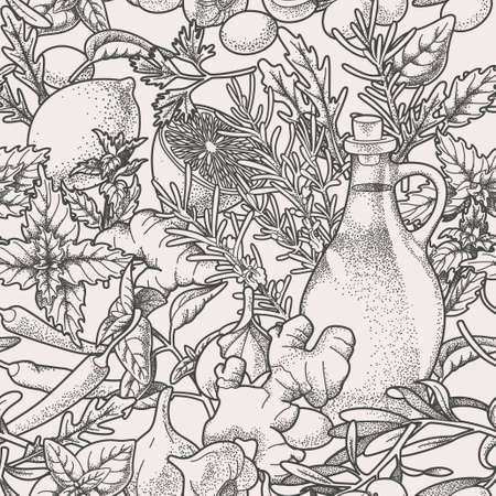 allspice: Hand drawn herbs and olive oil vector background Illustration