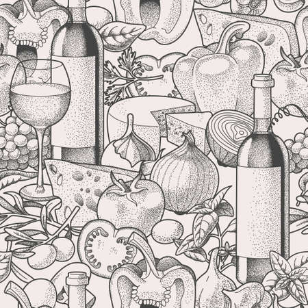 wine and cheese: Hand drawn wine and vegetables seamless vector background
