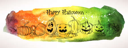glowing carved: Composition of watercolor hand drawn halloween pumpkins Illustration