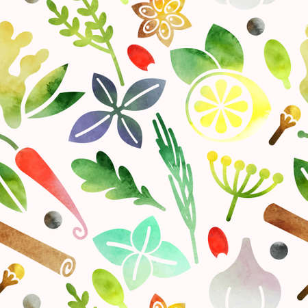 Watercolor seamless background with spices and herbs