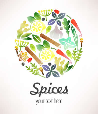 Composition of various spices made in watercolor Illustration