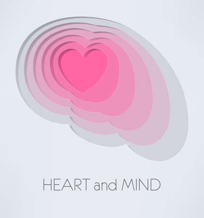 poise: Illustration of a brain and heart inside it Illustration