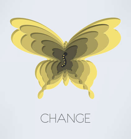 changes: Illustration of butterfly silhouette and caterpillar in it