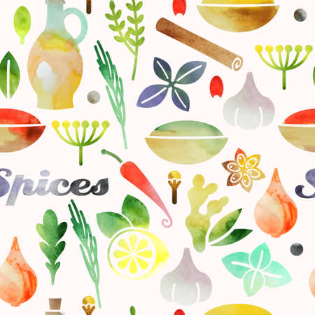allspice: Watercolor seamless background with spices and herbs