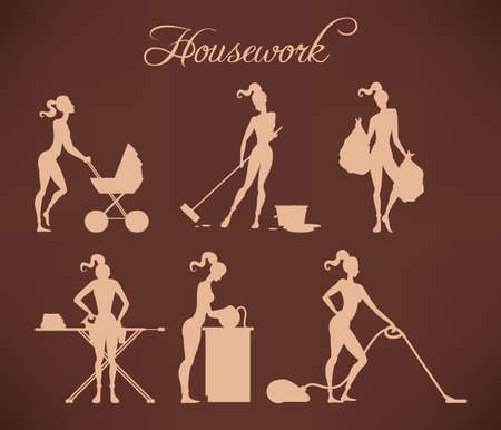 kitchen cleaning: Illustration of slim girl making various housework