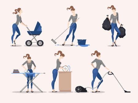 Illustration of slim girl making various housework