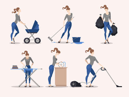 Illustration of slim girl making various housework