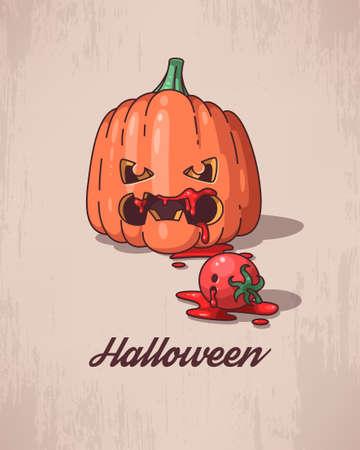 calabaza caricatura: Ilustraci�n de la calabaza de dibujos animados divertido para Halloween