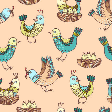 baby chicken: Illustration of birds in the nest, chicks and eggs