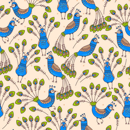 peacock feathers: Decorative peacocks and peacock feathers seamless background Illustration