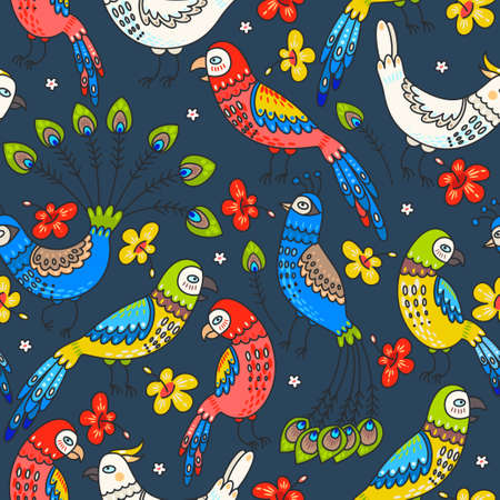 Decorative parrots and peacocks seamless background pattern 向量圖像