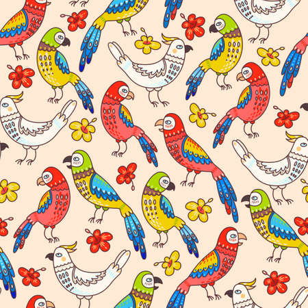 macaw: Colorful decorative cockatoo and macaw seamless background