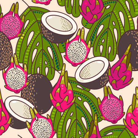 tropical fruits: Decorative pitaya and coconut seamless background pattern Illustration