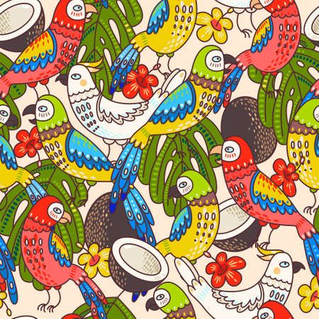 macaw: Macaw, cockatoo and coconut seamless background pattern Illustration