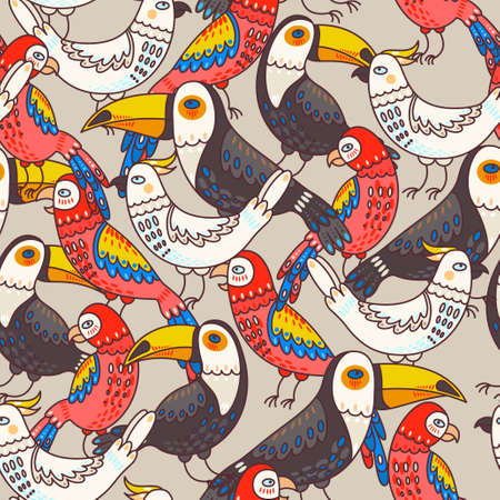 macaw: Decorative macaw, toucan and cockatoo seamless background